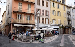 People sitting in outdoor Cafe Antibes France