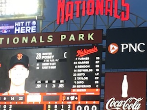 DC Nationals baseball game board