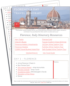 Florence 4 Day Travel Itinerary-FREE Printable image