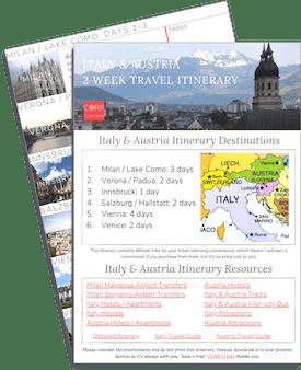 Italy & Austria 2 Week Travel Itinerary-FREE Printable image