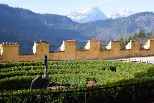 Hohenschwangau castle gardens and mountains