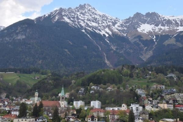 Overlooking Innsbruck Austria and Austria Alps