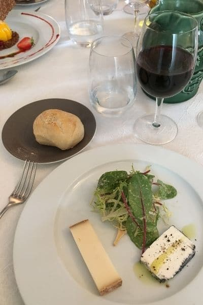dining table with food and wine Provence France restaurant