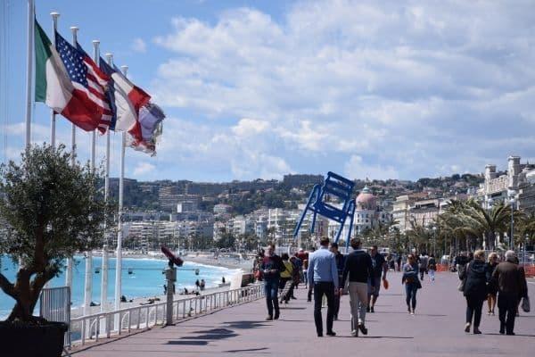 people walking Promenade des Anglais Nice France