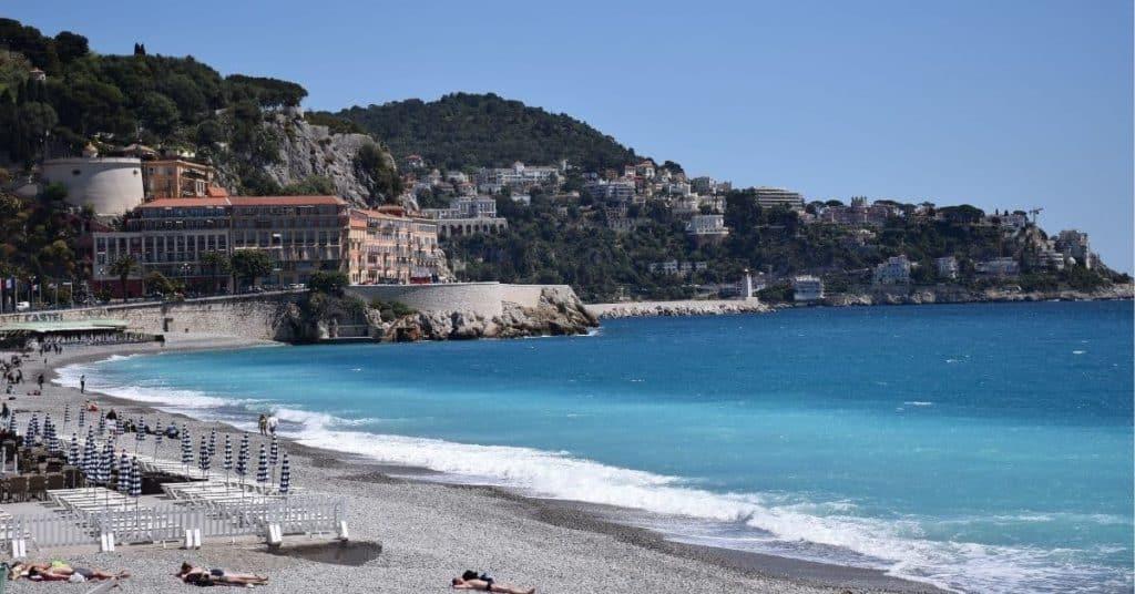 sunbathers on beach Nice South of France