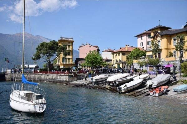 Boat on water Varenna Lake Como Italy