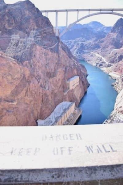Danger keep off ledge sign Hoover Dam Arizona