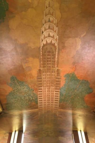 Design in red marble ceiling Chrysler building