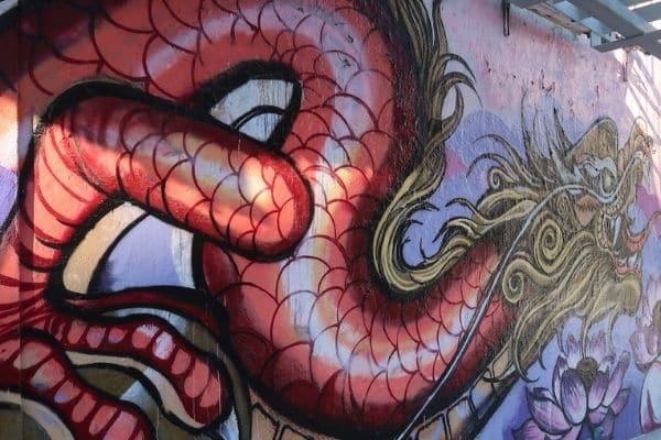 Dragon mural China Town San Francisco on Foot