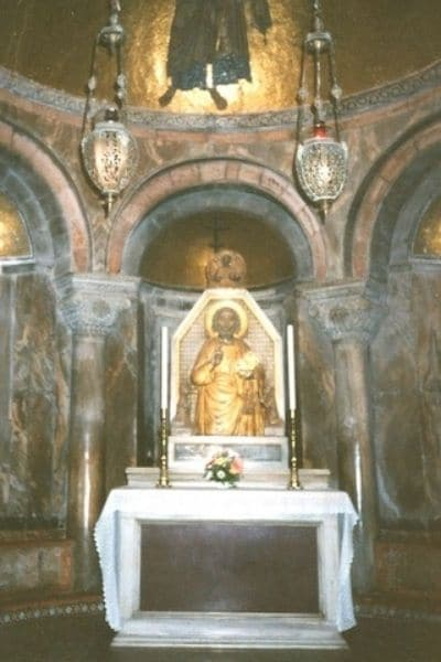 Gold statue and altar San Marco Basilica Venice Italy