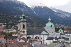 Innsbruck Austria skyline and Austrian alps