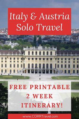 Italy & Austria Solo Travel Free Printable 2 Week Itinerary