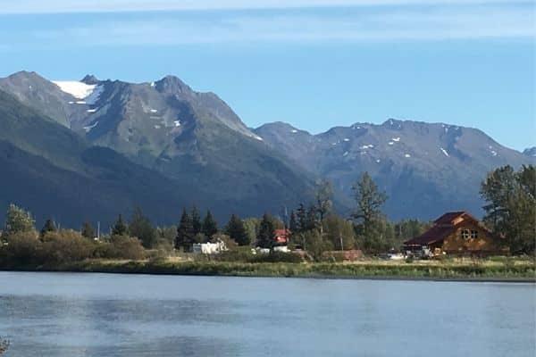 Mountains and lake Girdwood Alaska