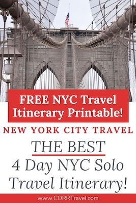 NYC printable Itinerary-4 Day NYC Solo Travel Itinerary