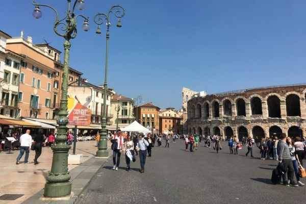 Outdoor cafes and Arena Verona Italy 2 day itinerary