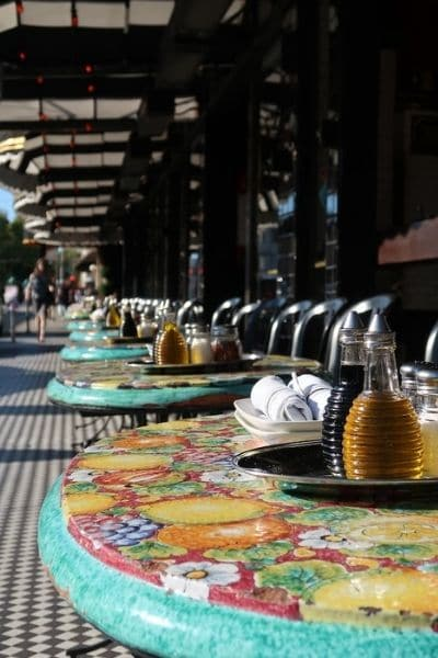 Outdoor dining tables North Beach San Francisco