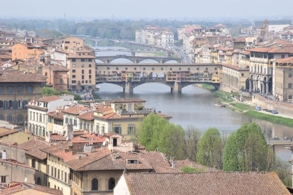 Overlooking Ponte Vecchio Florence Italy