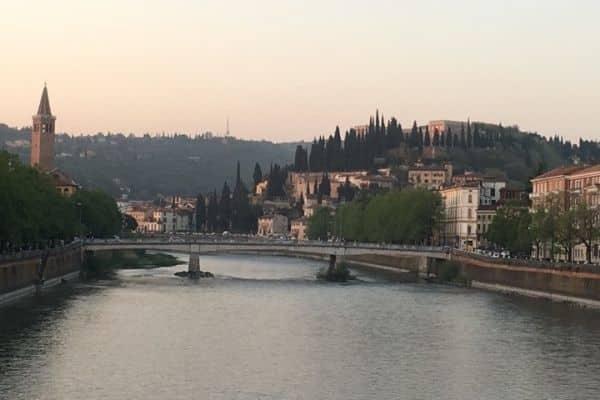 Overlooking river Verona Italy