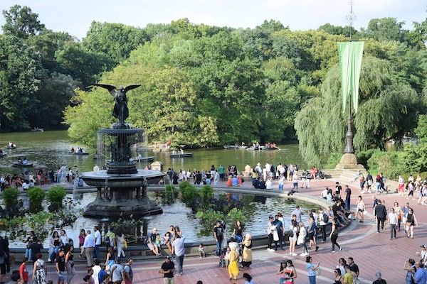 People at Bethesda fountain Central Park New York City