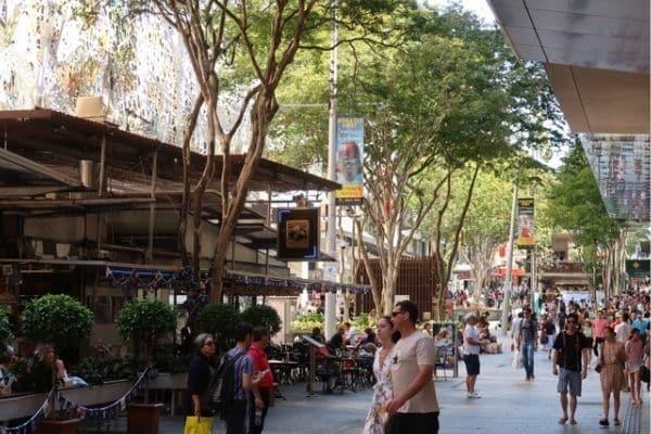 People on Queens St Mall Brisbane Australia