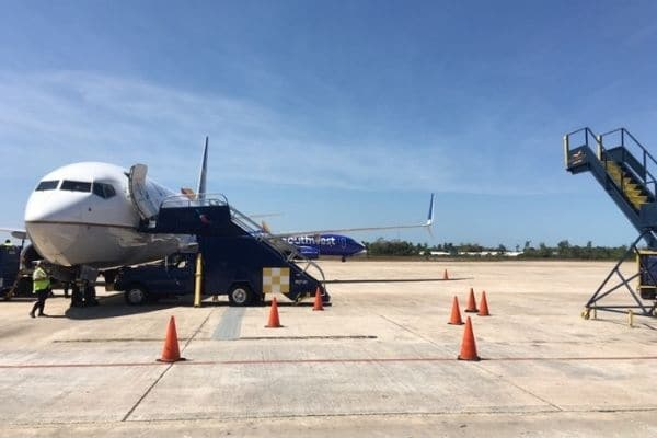Plane on tarmac Belize Airport