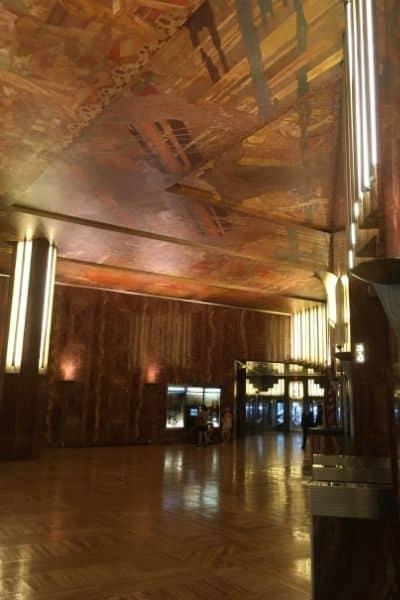 Red marble lobby Chrysler building New York City