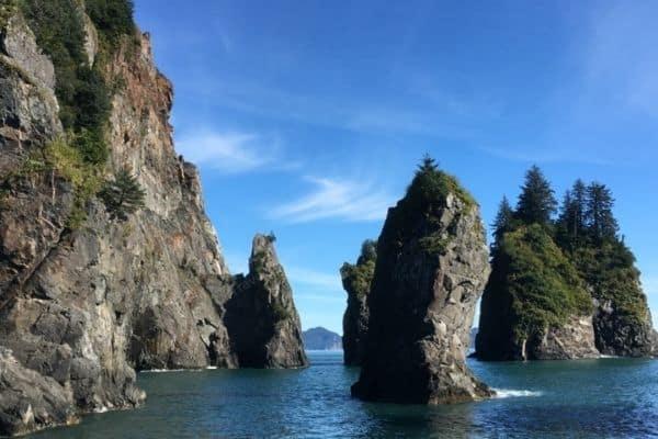 Rock cliffs Kenai Fjords Alaska weekend