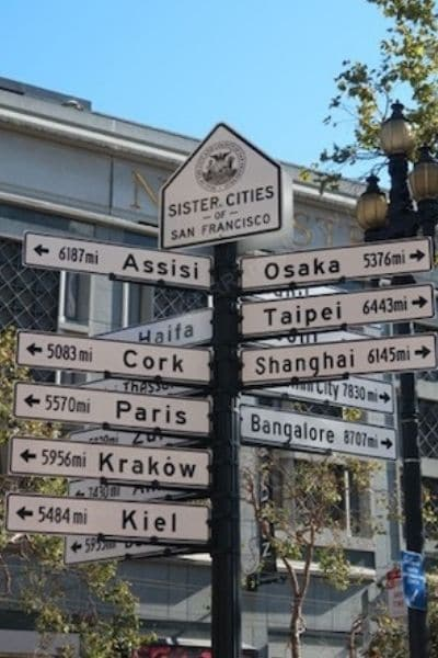 Sister Cities sign San Francisco 1 Day On Foot