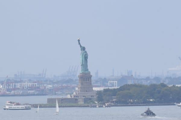 Statue of Liberty on harbor New York City