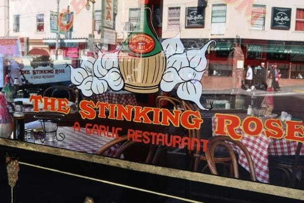 Stinking Rose window sign San Francisco on Foot