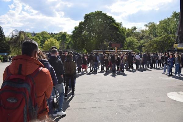 Tourist line Eiffel Tower Esplanade Paris