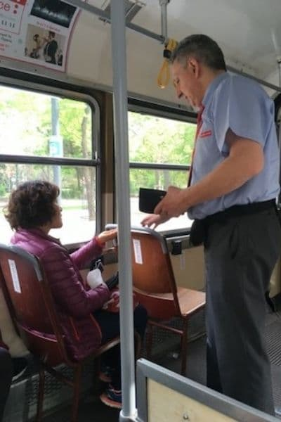Vienna Ringstrasse Tram driver on tram
