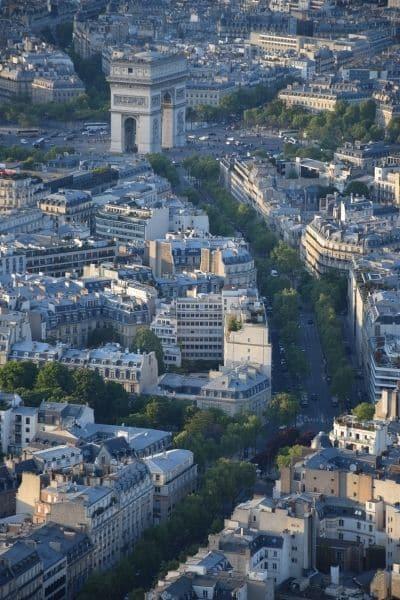 View of Arc de Triumph from Eiffel Tower Paris
