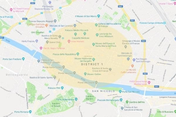 Where to stay in Florence Italy map