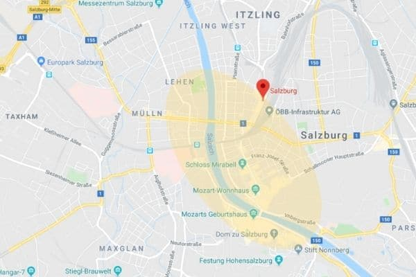 Where to stay in Salzburg Austria map