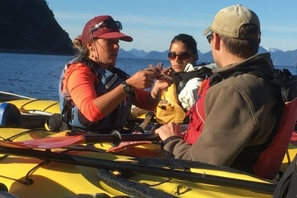 Wildlife instruction for kayakers on water Alaska