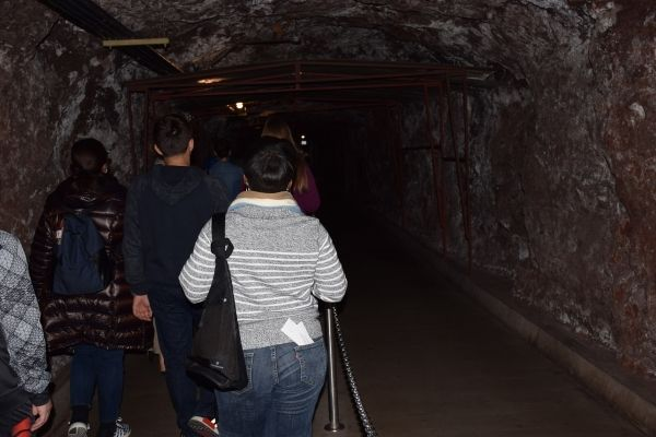 people touring Hoover Dam tunnel
