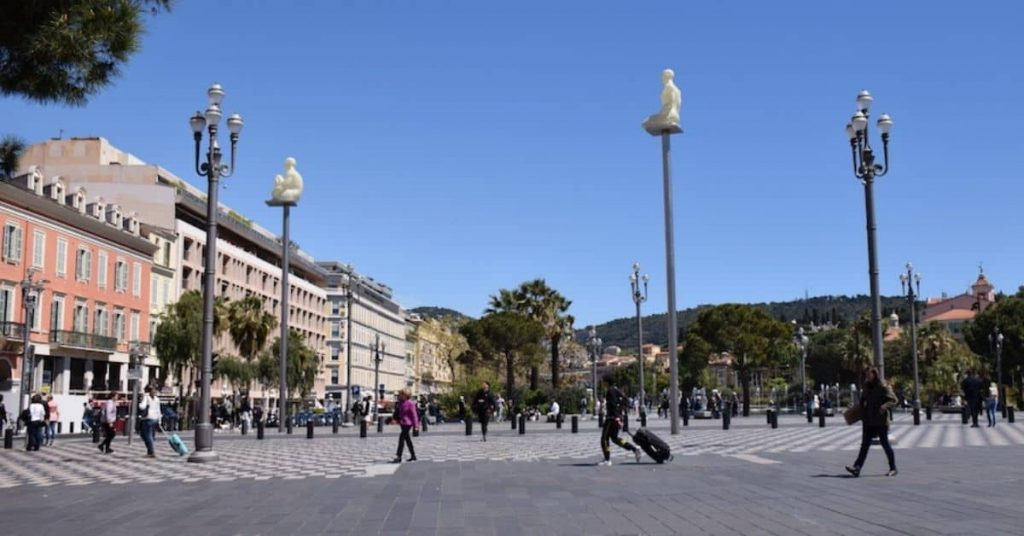 tourists walking in plaza