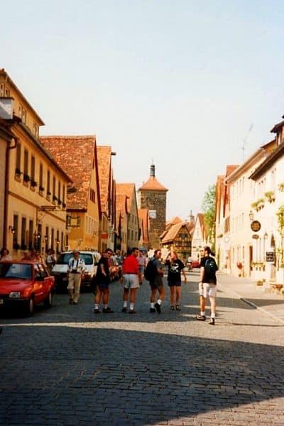 Tourists walking Old Town Rothenburg ob de Tauber