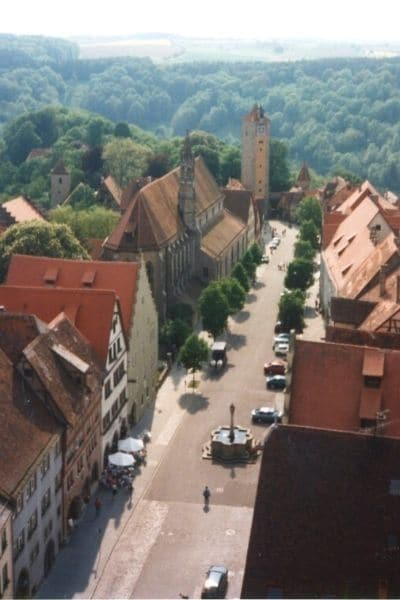 View of Spital Tower and Rothenburg from Town Hall Tower