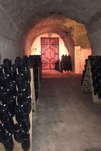 Racks of champagne Veuve Clicquot champagne