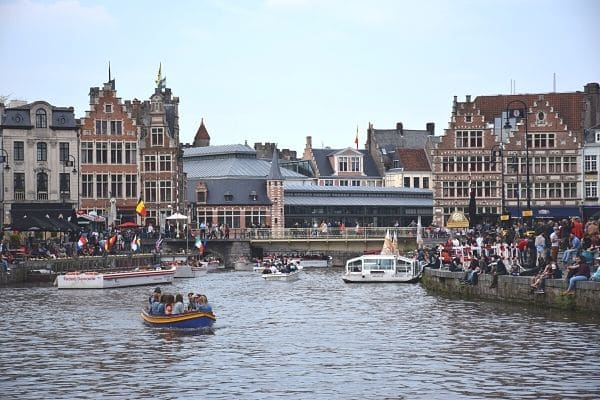 Boats on Leies River Ghent Belgium