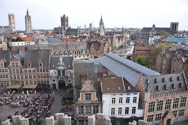 Ghent skyline from Gravensteen on one day in Ghent