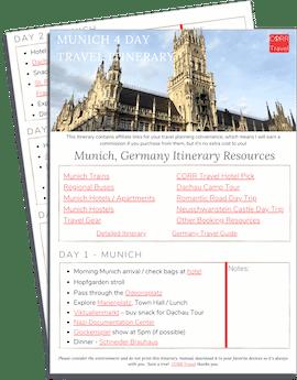 Munich 4 Day Itinerary printable