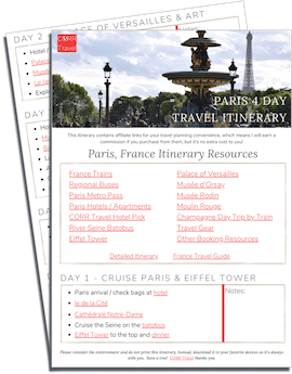 Paris 4 Day Travel Itinerary printable