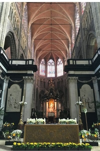 Saint Bavo's Cathedral on one day in Ghent Belgium
