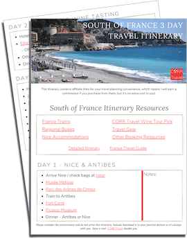 South of France in 3 Days Travel Itinerary printable download