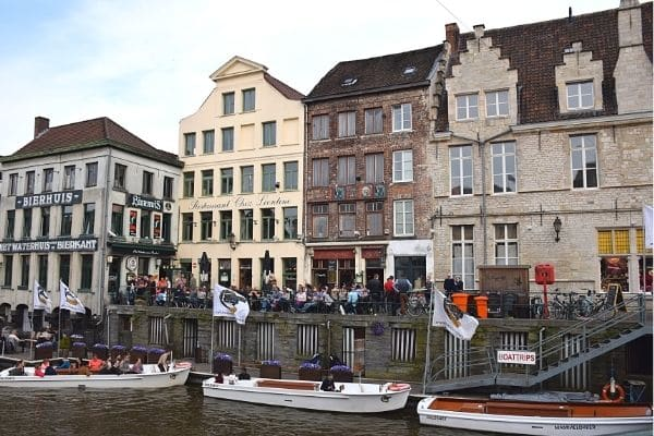 Tour boats Leie River Ghent Belgium