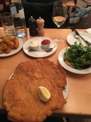 Dinner at Figlmuller - schnitzel bigger than the plate!