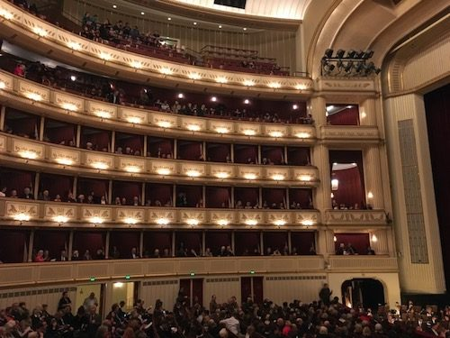 Inside the Vienna Opera House before a performance